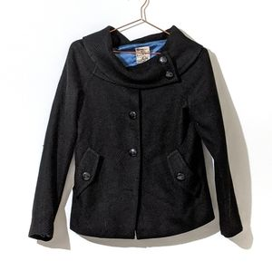 Tulle Funnel Neck Wool Peacoat Black Size Small